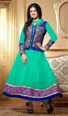 Look chic like Ayesha Takia dressed in this turquoise green shade faux georgette Anarkali suit. Embroidered foliage patterns on the contrasting jacket and hemline patch prink the appearance of the attire. #AnarkaliDress