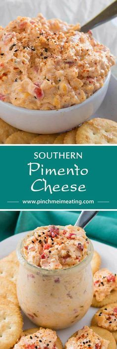 With ample seasonings and just a little kick, creamy Southern pimento cheese is great with everything from crackers or burgers to crab cakes or grits! This cheddar cheese spread also makes a great cold party appetizer dip that doesnt require the oven. Pimento Cheese Recipes, Cheddar Cheese, Pimento Cheese Sandwiches, Pepperoni Recipes, Jalapeno Recipes, Cold Party Appetizers, Appetizer Dips, Appetizer Recipes, Meat Recipes