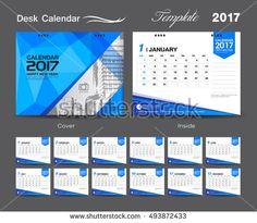 Set White Desk Calendar  Template Design Cover Desk Calendar