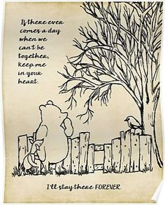"""""""winnie the pooh - keep me in your heart"""" Canvas Prints by SouthernSassArt Famous Quotes From Literature, Famous Quotes From Songs, Famous Quotes About Life, Famous Movies, Winnie The Pooh Poems, Friends Poster, Heart Poster, Pomes, Heart Canvas"""