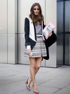 Olivia Palermo - MY NOTE: A monochrome  outfit requires texture. A variety in patterns provides the outfit with interesting details and dimension. Break up the expected by adding in subtle details of colours - like the green in the skirt and/or red in the heels.