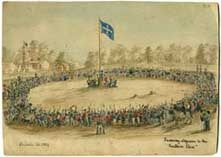 The Eurekapedia wiki explores the people and stories that lie parallel to the development of Australian democracy and culture. The significant narratives of goldfields agitation, the Ballarat Reform League, and the events leading to the battle at the Eureka Stockade, the only civil uprising on Australian soil, are central to the development of Australia as a democratic country
