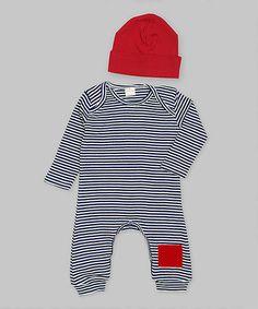 Look at this #zulilyfind! Blue & Ivory Stripe Patch Playsuit & Red Beanie - Infant by Ruff Truff #zulilyfinds