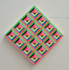 Neometry Geometric Paintings by Carl Cashman - Design Milk Neometry Geometric Paintings by Carl Cashman - Design Milk A debut exhibition of colorful neon and geometric Op-Art paintings with woven bold patterns by Carl Cashman that come alive in the dark. Geometric Painting, Geometric Art, Abstract, Geometric Patterns, Textures Patterns, Print Patterns, Hama Art, Art Optical, Type Illustration