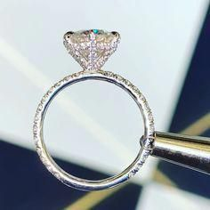 This engagement ring set was designed by Camellia Jewelry. This diamond engagement Ring is set with a round cut natural diamond set on the top of camellia flower . To achieve this stunning look, Weve created a matching diamond wedding band set in Dream Engagement Rings, Rose Gold Engagement Ring, Engagement Ring Settings, Vintage Engagement Rings, Most Beautiful Engagement Rings, Perfect Engagement Ring, Gold Diamond Wedding Band, Wedding Gold, Anillo De Compromiso