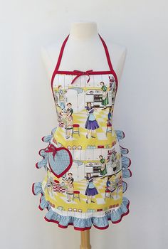 Apron Home Ec by Michael Miller Ruffle Full Apron by pigandcompany, $34.00