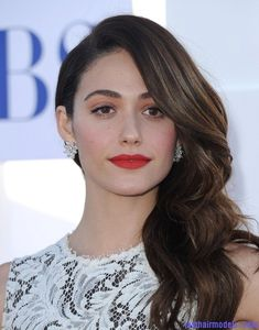 Emmy Rossum's messy waves: Swept to one side hastily! | Last Hair ...