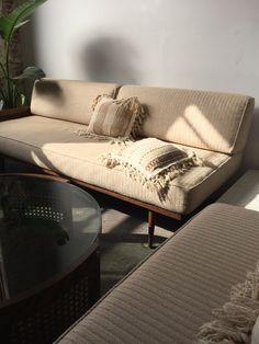 Cream Mid Century Walnut Daybed Sofa with Cane  —