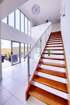 Beautiful grand wooden staircase Win A House, Prize Homes, Home Lottery, Luxury Penthouse, Wooden Staircases, Wood Floor, Palm Beach, Interiors, Flooring