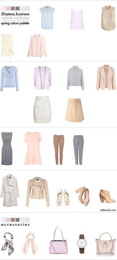 20 piece, BUSINESS CAPSULE WARDROBE for Spring. A sample wardrobe in a pastel…