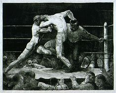 George Bellows (United States, Ohio, Columbus, 1882 - 1925)  A Stag at Sharkey's, 1917  Print, Lithograph, Sheet: 21 7/8 x 27 1/2 in. (55.56 x 69.85 cm); Image: 18 3/4 x 24 in. (47.63 x 60.96 cm)  Gift of the 1993 Collectors Committee (AC1993.20.1)  Prints and Drawings Department. LACMA
