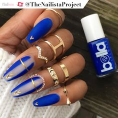 This matte blue look by @theNailistaProject is simply divine. Get the look using @bellalacquer in 'Birkin Bleu' topped w/ a matte topcoat and gold embellishments.