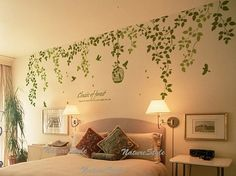 Get It Now vine wall decal Sticker decal nursery decal birds decal baby children - Beautiful Flowers with Flying Birds and Birdscage by NatureStyle. Wall Stickers Vines, Bird Wall Decals, Nursery Decals, Vinyl Wall Stickers, Wall Decal Sticker, Bedroom Wall Stickers, Decals For Walls, Tree Decals, Wall Vinyl