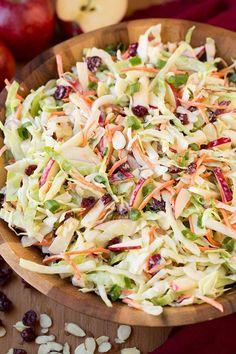 Apple Cranberry Almond Coleslaw | Cooking Classy Coleslaw Recipe From Scratch, No Mayonnaise Coleslaw Recipe, Texas Coleslaw Recipe, Tangy Slaw Recipe, Healthy Coleslaw Recipes, Healthy Salads, Salad Recipes, Cole Slaw, Cranberry Almond