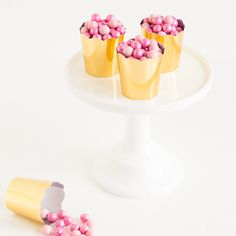 Gold Scalloped Petite Candy Cups –or popcorn if you need some salty with your desserts!