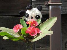 Hand Knit Mini Panda by pinkcandystudio on Etsy https://www.etsy.com/listing/26064139/hand-knit-mini-panda