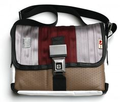 made with car seats, bike inner tube and seat belts.with seat belt buckle closure Seat Belt Buckle, Messenger Bag, Car Seats, Satchel, Seat Belts, Bike, Handbags, Closure, Medium