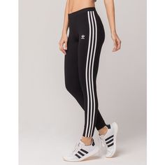 Adidas 3 Stripes Leggings ($40) ❤ liked on Polyvore featuring pants, leggings, stripe pants, embroidered pants, legging pants, adidas leggings and adidas trousers