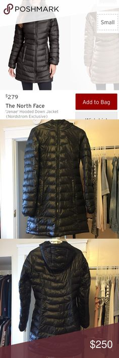 The North Face Down Coat Gently used, basically new. This jacket is very durable and WARM. Has a feminine figure to it which is why I liked it, but now that I moved I don't have as much use for it 😩 lmk if you have any questions ! There's no flaws. Sold out everywhere North Face Jackets & Coats Puffers