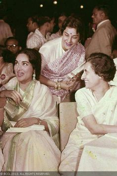 Vyjayanthimala with co-star Nargis Dutt and former Prime Minister Indira Gandhi during a photoshoot.