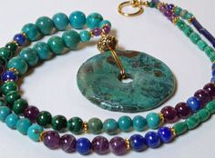 turquoise necklace turquoise pi bead lapis by TheSpiralRiver - i love the color combo