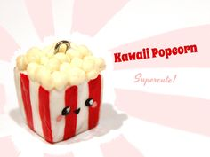 "Pop! Here is how to make a cute popcorn charm in polymer clay. ""Rachsneade"" requested a popcorn tutorial in my giveaway. Congratulations, you are the first w..."