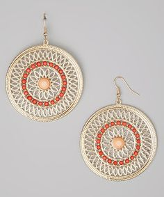 Take a look at this Gold & Coral Abstract Disc Earrings by GemBella on #zulily today!