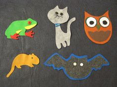 "Nocturnal animals to place on the flannelboard while we listen to the song, ""Nocturnal Animals"" by Nancy Musi"