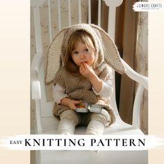 KNITTING PATTERN easy hooded poncho Phoebe x Beginner hooded   Etsy Kids Poncho Pattern, Poncho Knitting Patterns, Baby Knitting, Vest Pattern, Stitch Crochet, Crochet Fox, Hooded Poncho, Knitted Poncho, Halloween Crochet Patterns