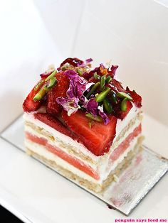 Awesome shot.  Strawberry Watermelon Cake.  Black Star Pastry