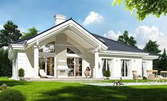Modern Bungalow House, Barndominium Floor Plans, My House Plans, Villa, Home Fashion, Traditional House, New Homes, Cottage, Facade