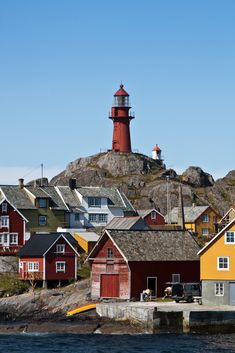 The Lighthouse at Ona island, municipality of Sandøy in Romsdal country, Norway.