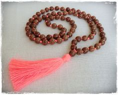 Long wooden bead tassel necklace with coral by Brightnewpenny