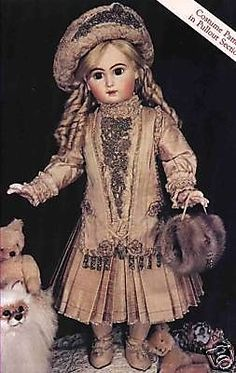 "29""ANTIQUE ARIELLE JUMEAU DOLL DRESS/JACKET&HAT PATTERN/FRENCH BRU-GERMAN CHILD 