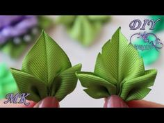 🌿 Green leaves for flowers from ribbons 🌿 Fancy triple leaves from rep - Flores Ribbon Art, Diy Ribbon, Ribbon Crafts, Flower Crafts, Cloth Flowers, Diy Flowers, Fabric Flowers, Paper Flowers, Ribbon Flower Tutorial