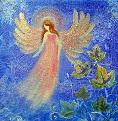 Healing Angel Original Acrylic Painting 8 x8  wrap canvas Glittered