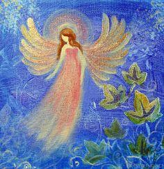 Healing Angel Original Acrylic Painting 8 x8  wrap canvas Glittered
