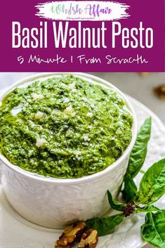 Basil Walnut Pesto is an interesting variation of a very popular sauce recipe called Pesto that is prominently used in the Italian cuisine. Pesto With Walnuts Recipes, Fresh Basil Recipes, Sauce Recipes, Pasta Recipes, Cooking Recipes, Keto Recipes, Healthy Recipes, Basil Walnut Pesto, Homemade Pesto Sauce