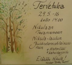 Asukkaan laatima kutsu Nikula-laulun julkistamistilaisuuteen.