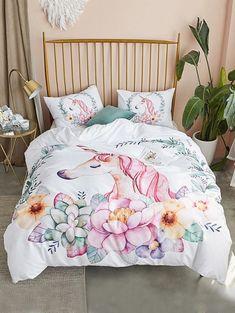 4b09e3d7f611 ORoa Soft Cotton Cartoon Pink Floral Duvet Cover Full Queen Girls ...