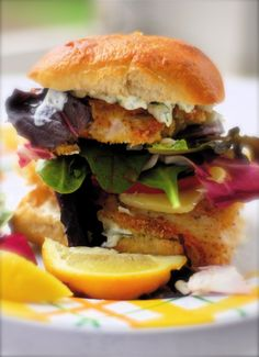 """Copycat recipe of Tyler Florence's """"Ultimate Fillet-o-Fish Sammie""""....mmmmm!!! Tostadas, Tacos, Fish Dishes, Seafood Dishes, Fish And Seafood, Fish Recipes, Seafood Recipes, Cooking Recipes, Healthy Recipes"""