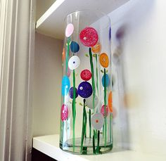 Spring Poppy Flower Vase—super simple painting project.