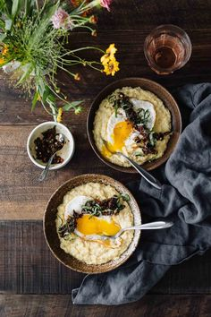 A creamy, fresh sweet corn polenta base topped with an easy sun-dried tomato relish and finished with a fried egg. Perfect for dinner or breakfast! Vegetarian Dinners, Vegetarian Recipes, Healthy Recipes, Healthy Food, Breakfast Recipes, Dinner Recipes, Dinner Ideas, Tomato Relish, Organic Eggs