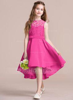 4f0a7192095 A-Line Princess Scoop Neck Asymmetrical Satin Junior Bridesmaid Dress  (009095078) Bridal