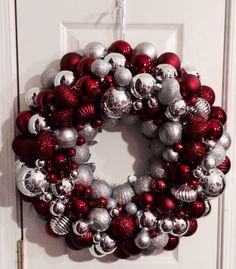Silver & Burgundy Ornament Wreath ⭐️