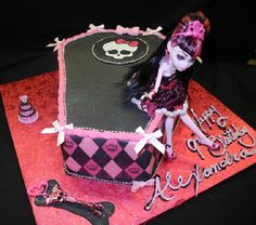 Thinking about trying to make a cake like this for Dakota's 10th birthday =) Made it a red velvet cake with white, pink & purple frosting and a sugar skullette, turned out great!