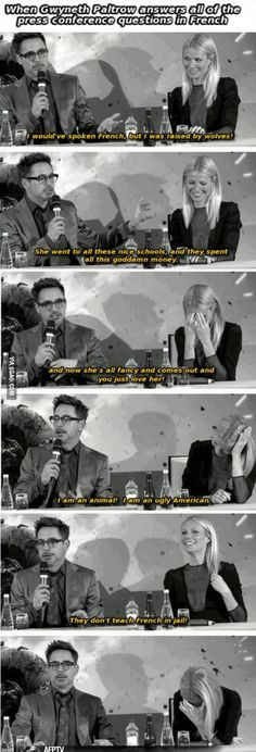 Robert Downey Jr. and Gwyneth Paltrow at a French press conference