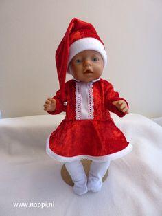 Themakleding / Baby Born 43 cm   Nappi.nl Kerstjurk, kerstmuts en maillot, eigen ontwerp