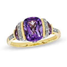 Cushion-Cut Amethyst and Diamond Accent Ring in Sterling Silver with 14K Gold Plate - Size 7 my wedding ring!