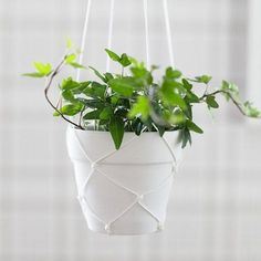 Tie pretty macramA� hanging planters with this simple technique. Tutorial in English and Swedish.   See more about Hanging Planters, Planters and English.